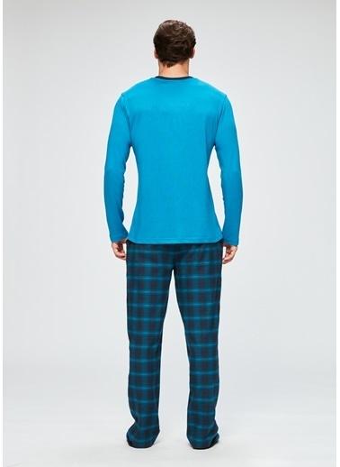 Dagi Kalın Fayn V Yaka Altı Uzun Kollu Pijama Takımı Petrol